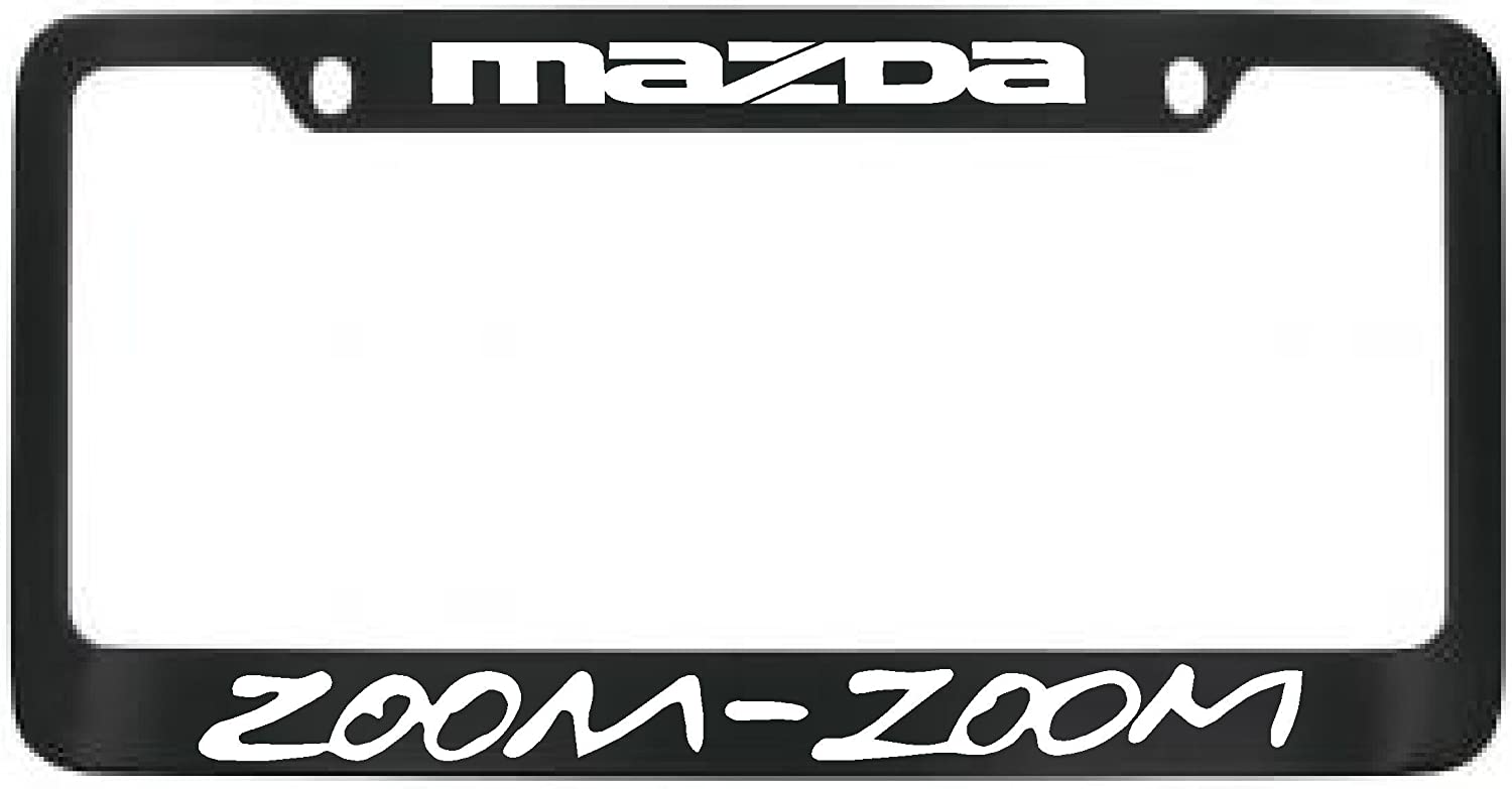 Mazda Zoom Zoom Black Metal License Plate Frame with 2 free caps
