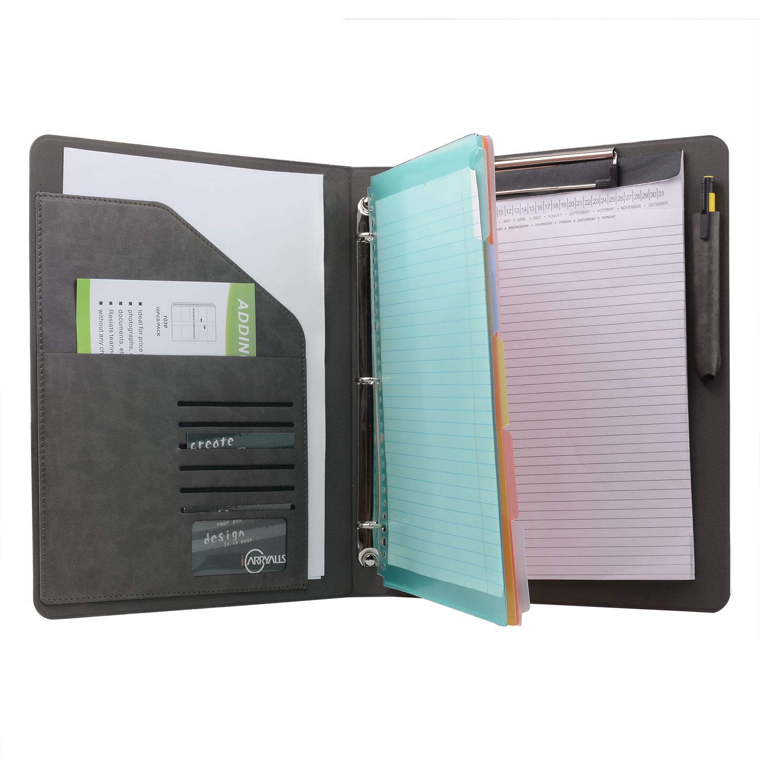 Binder Portfolio Organizer with Color File Folders, Business and Interview Padfolio with 3-Ring Binder, Clipboard by XIAOZHI