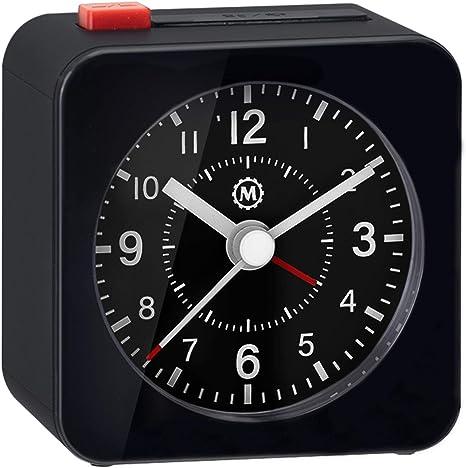 No Ticking Auto Back Light and Marathon Mini Travel Alarm Clock Silent Sweep