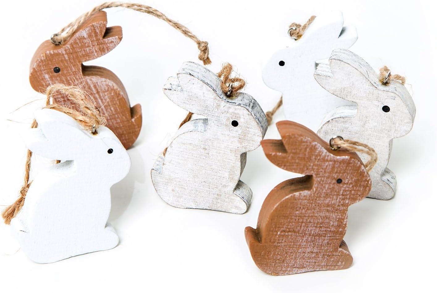 les d/écorations de P/âques P/âques 6/Petits Lapins cadeau pendentif Gris Marron et Blanc Naturel en bois /à suspendre 10/cm sans ficelle Lapin D/écoration P/âques d/écorative /à bijoux cadeaux