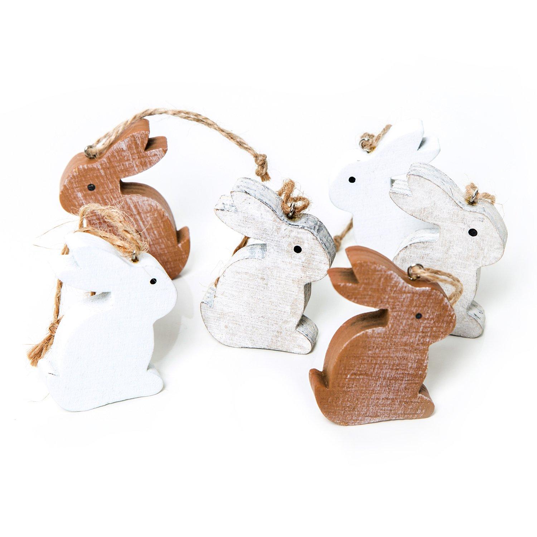 12pezzi piccolo bianco in legno marrone coniglietto pasquale 6cm da appendere–Legno lepri Pasqua Decorazione Oster fatti a mano come ciondolo regalo Give Away–Pasqua Decorazione da appendere o altri Nest decorare Jeanette Dietl