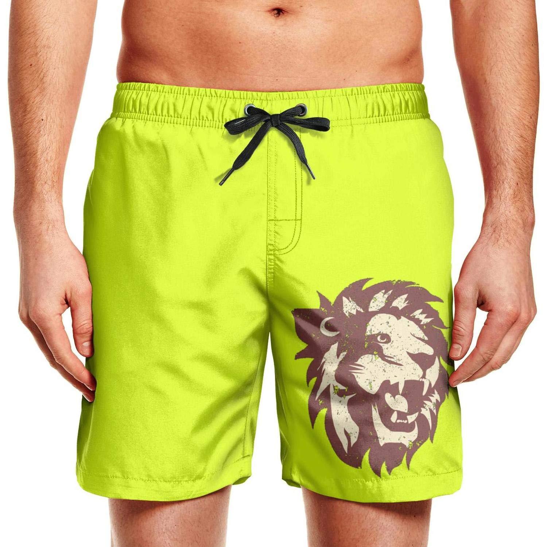 SADAFDS Lion Decor Print Men Swimming Trunks Elastic Printed Workout Shorts