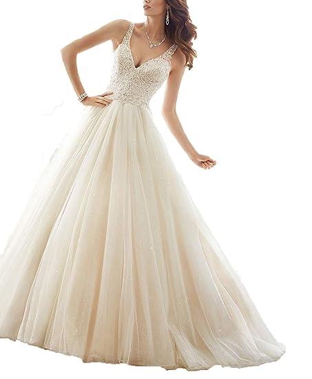Welovedresses Women\'s Double Shoulder Bridal Gowns V-Neck A-line ...