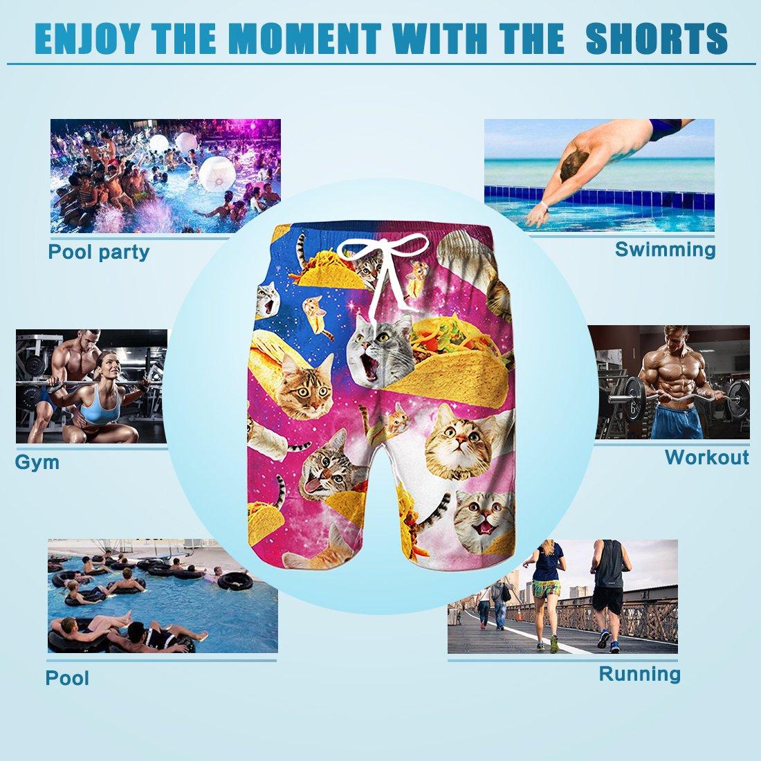 RAISEVERN Herren Shorts, Sommersport Arbeit beiläufige Printed Strandkurzschluss - Hosen