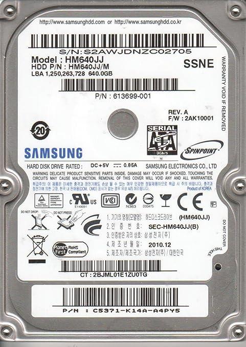 Hm640jj, hm640jj/m, fw 2ak10002, ssns, samsung 640gb sata 2. 5 hard.