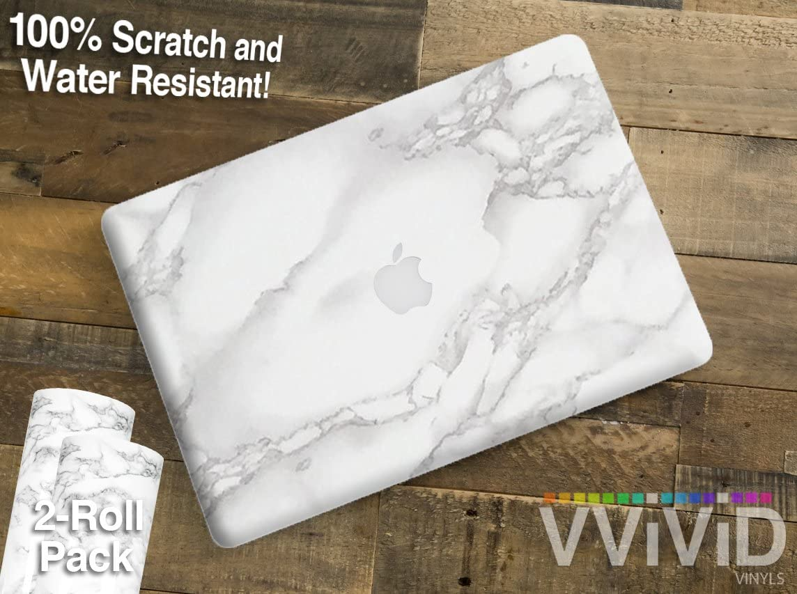VViViD Heat-Moldable Moisture-Resistant DIY Vinyl Universal Laptop Wrap 18 Inch x 12 Inch 2-Roll Pack (White Grey Marble)