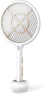 Bug Zapper Electric Fly Swatter USB Rechargeable Fly Zapper Mosquito Killer for Home and Outdoor 4000 Volts 3-Layer Mesh Safe to Touch