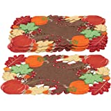 Harvest Pumpkin And Leaves Table Linens Placemats, Placemats