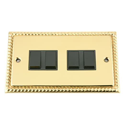 Light Switch 4 Gang Polished Brass Georgian Black Insert Plastic