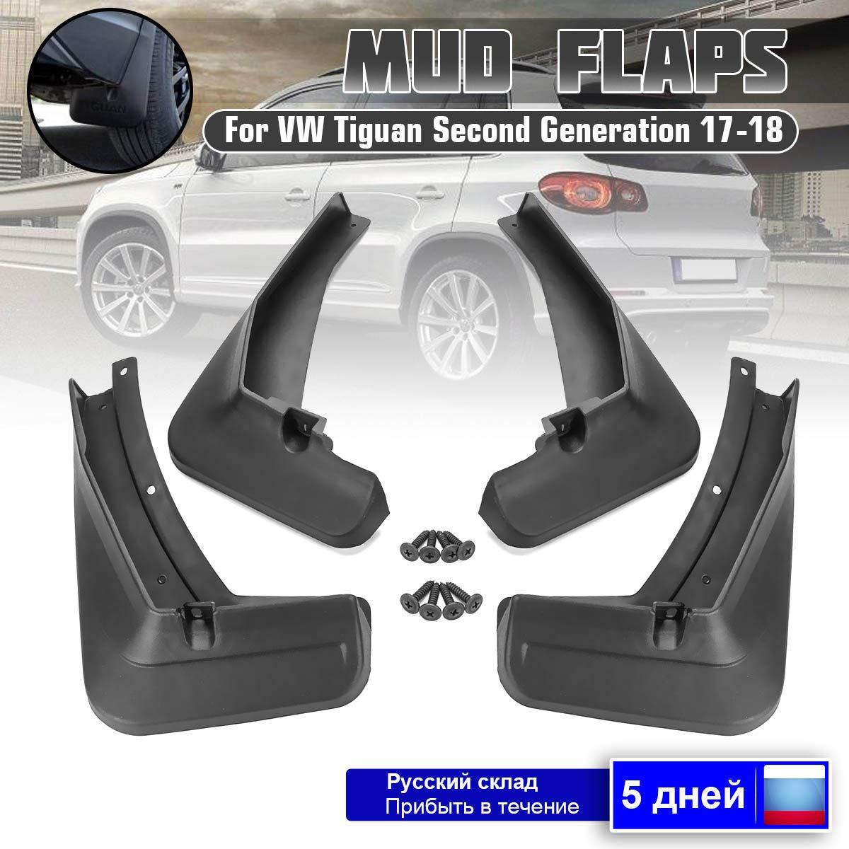 BTSDLXX 4 Pcs Set Coche Guardabarros para VW Tiguan//Tiguan L 2017 2018 Delanteros Traseros Goma Barro Aletas Protectores contra Salpicaduras Accesorios