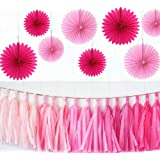 Zorpia® Party Wedding Decorations Paper Fans and Tassel Set - Assorted Fans of 10, 16-Inch, 23 Pieces, Assorted Colors (Pink and Rose)
