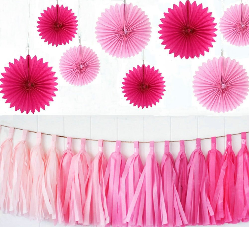 16-Inch zorpia Party Wedding Decorations Paper Fans and Tassel Set Pink and Rose Assorted Fans of 10 23 Pieces Assorted Colors