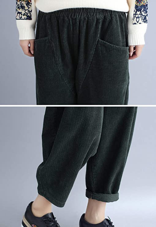 f39af5d0872c1c Flygo Women's Casual Baggy Elactic Waist Thick Corduroy Cropped Harem Pants  Trousers at Amazon Women's Clothing store: