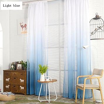 Wunderbar Nclon Farbverlauf Voile Vorhänge Gardinen,Leichtes Getriebe Atmungsaktive  Romantisch Balkon Schlafzimmer Vorhänge Gardinen Blau