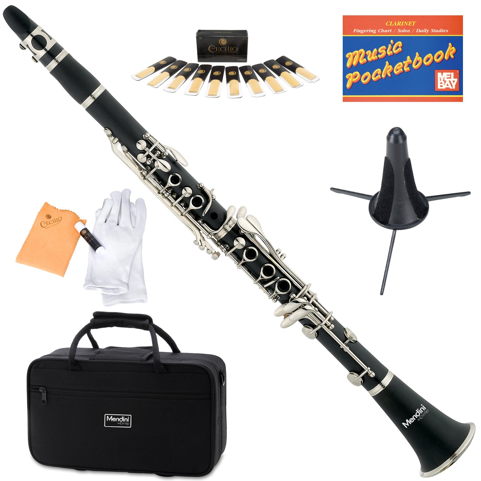 Mendini MCT-E+SD+PB Black Ebonite B Flat Clarinet with Case, Stand, Pocketbook, Mouthpiece, 10 Reeds and More