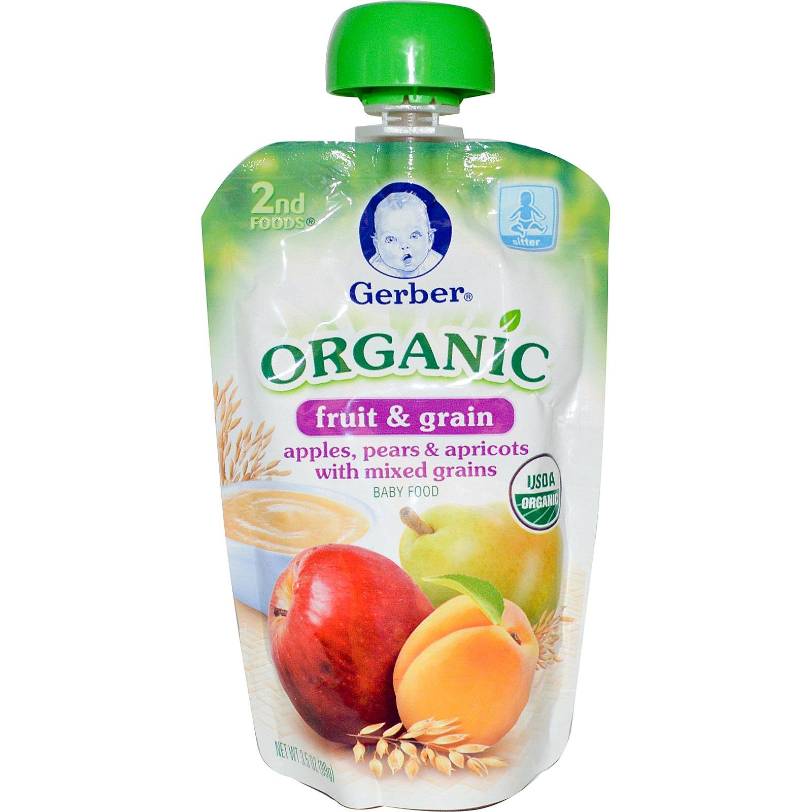 Gerber 2nd Foods,Organic,Baby Food,Fruit & Grain,Apples,Pears & Apricots With Mixed Grains,3.5 Oz (99 G)
