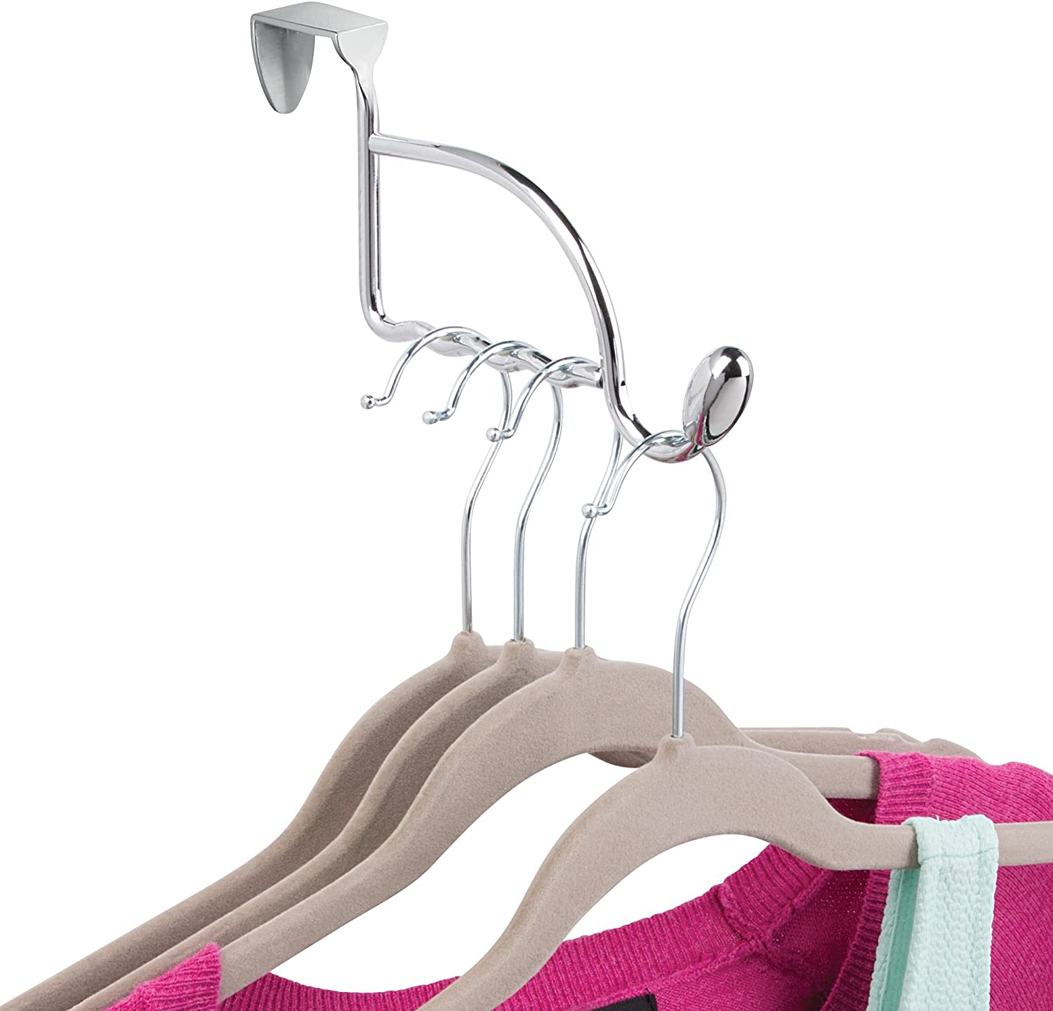 B00004XSFM iDesign Orbinni Over the Door Valet Hook for Coats, Hats, Robes, Towels, Sweaters, Perfect for Bedroom, Bathrooms and Mudroom Closets, 1 Hook With 4 Slots for Clothing Hangers, Chrome 714rMzDXs6L