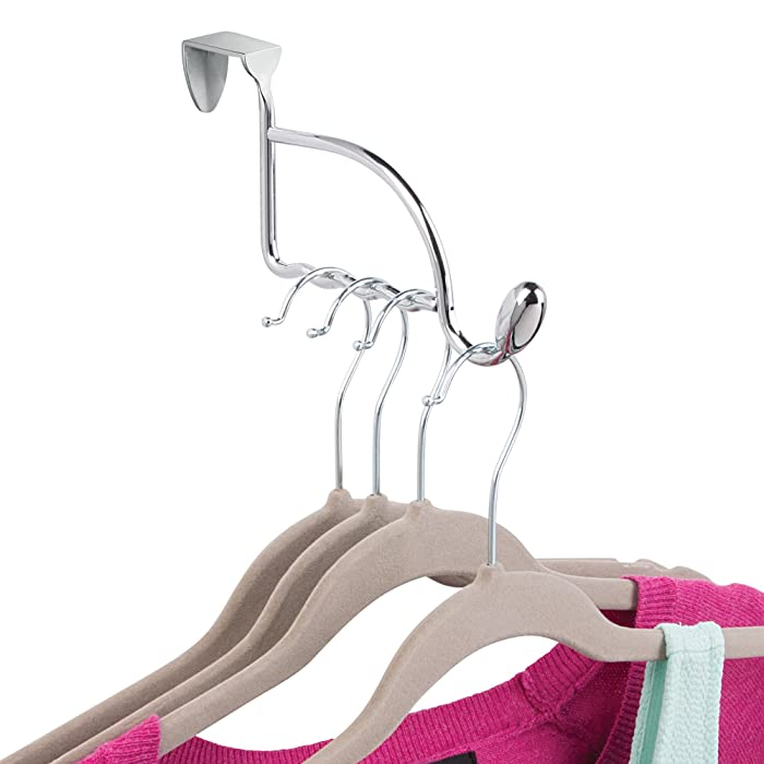 InterDesign Orbinni Over the Door Valet Hook for Coats, Hats, Robes, Towels, Sweaters, Perfect for Bedroom, Bathrooms and Mudroom Closets, 4 Slots for Clothing Hangers, Chrome