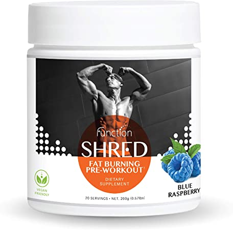 Fat Burner Pre Workout Powder for Men & Women - Natural Shred Energy Preworkout Supplement | Ultimate Performance Weight Loss & Muscle Building Drink to Get Ripped Fasted