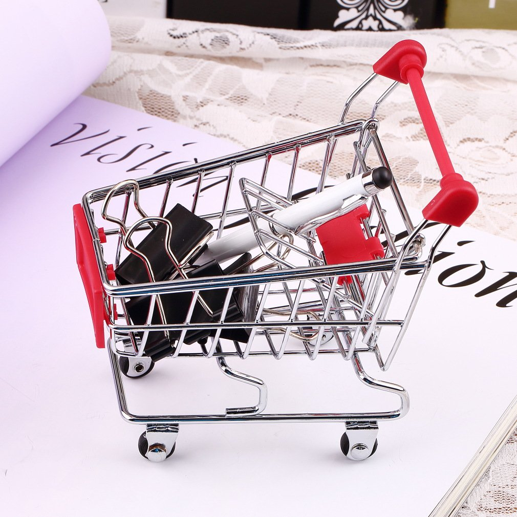 Ü berlegene Qualitä t Cute Edelstahl Mini Supermarkt Handwagen Shopping Utility Cart Farben Stilvoll FairytaleMM