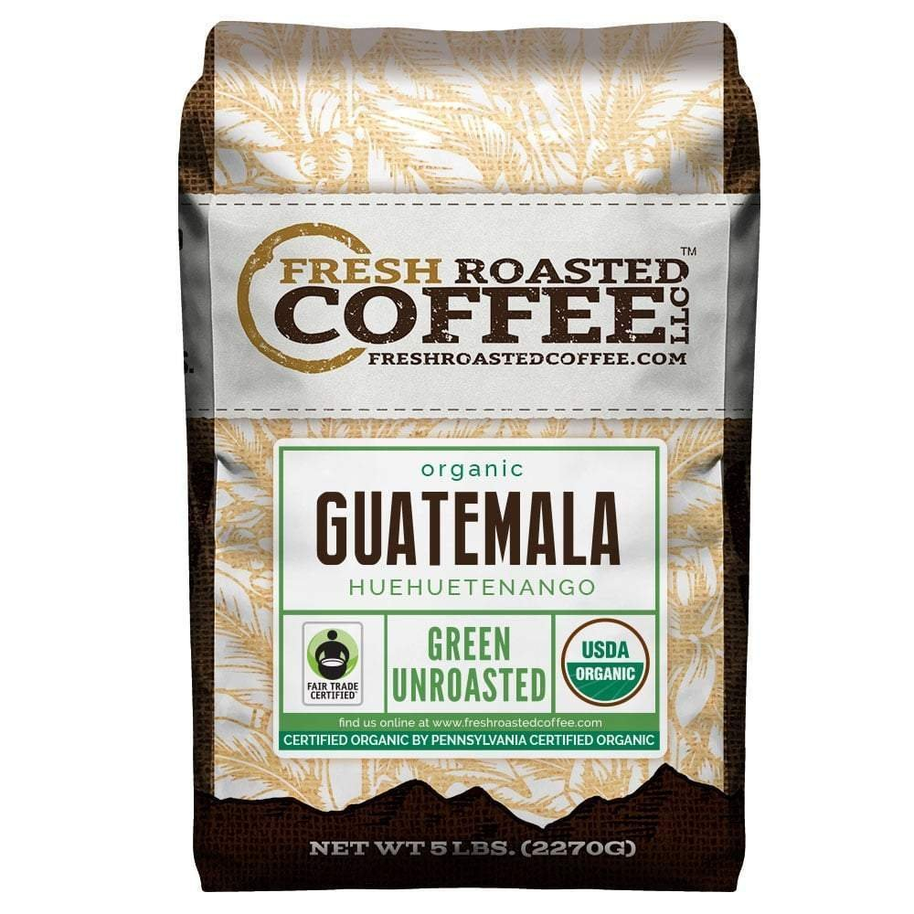 Fresh Roasted Coffee LLC, Green Unroasted Guatemalan Huehuetenango Coffee Beans, Fair Trade, USDA Organic, 5 Pound Bag by FRESH ROASTED COFFEE LLC FRESHROASTEDCOFFEE.COM