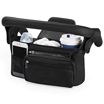 Universal Stroller Organizer with Insulated Cup Holder by Momcozy - Detachable Phone Bag & Shoulder Strap