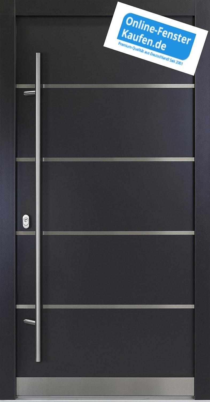 Aluminium Haust/ür AR-G 05//68 68 mm wei/ß Energiesparhaust/ür mit Edelstahl-Sto/ßgriff rund 1600 mm Innendr/ücker von Online-Fenster-Kaufen 1000mmx2100mm DIN rechts