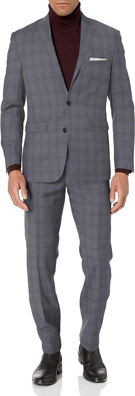 Vince Camuto Men's Two Button Slim Fit Glen Plaid Suit