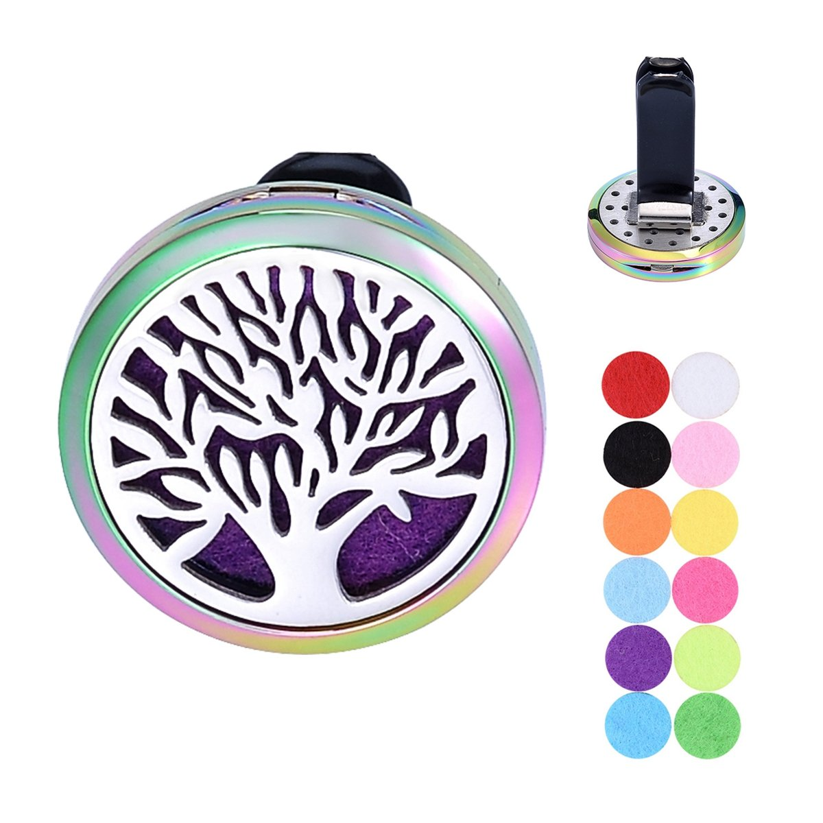 Car Air Freshener Aromatherapy Essential Oil Diffuser Vent Clip Stainless Steel Tree of Life Locket with 12 Washable Felt Pads Supreme glory SGto-B286841