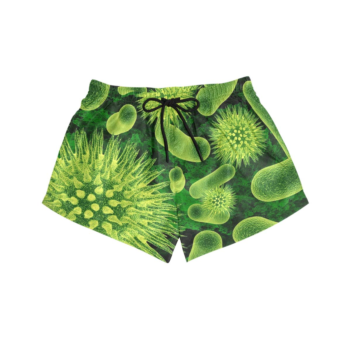Green Cellular Virus Colorful Novelty Womens Quick Dry Swim Trunks Swimming Shorts with Mesh Liner