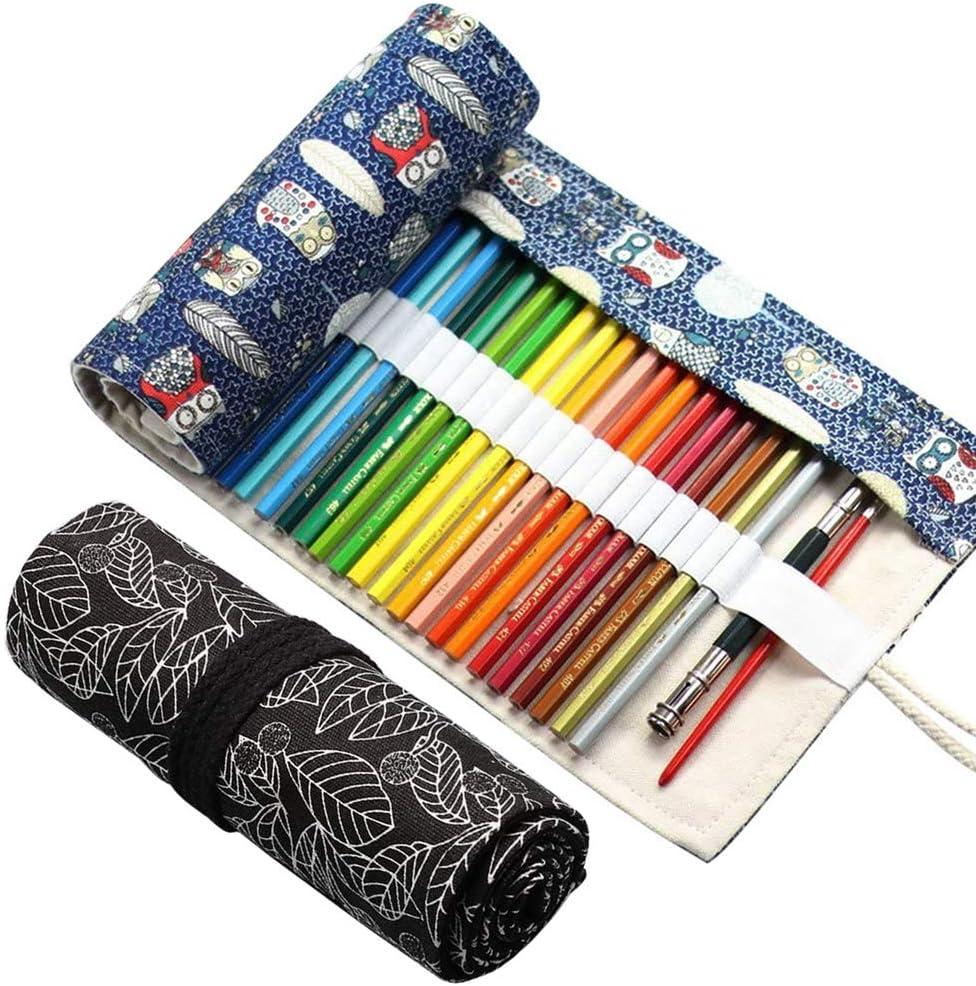 2 Piezas Lona Bolso para Lápices, 24 Agujeros Estuche Enrollable para Lápices Portalápices de Lona Organizador para Artista Escuela Oficina