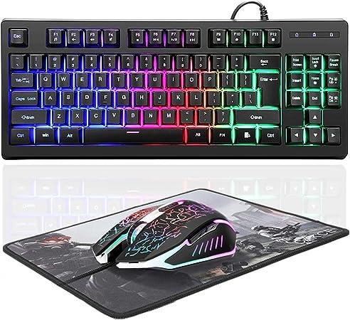 Teclado RGB de 87 teclas para juegos y ratón colorido combinado, teclado de juego y ratón de juego con cable USB con retroiluminación mecánica y ratón ...