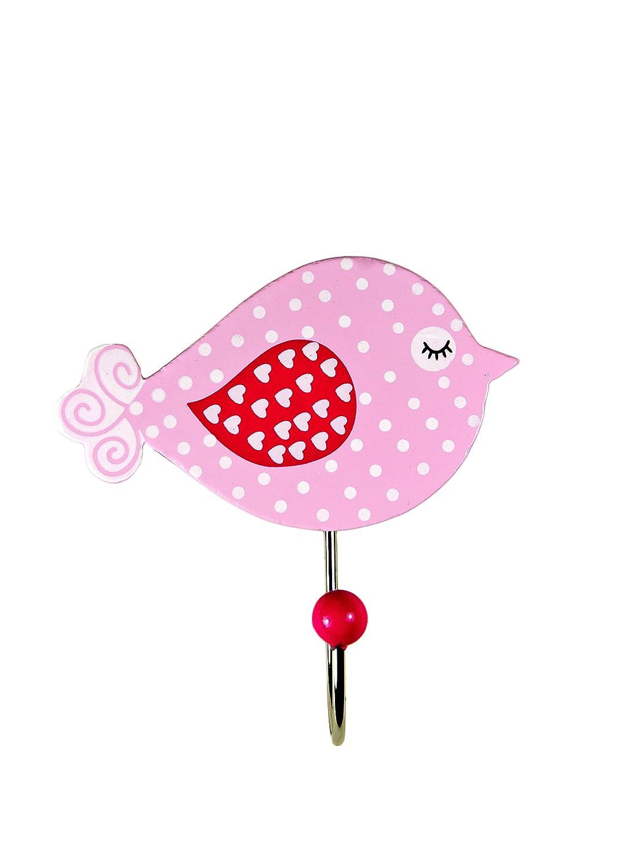 Gancho individual para la ropa, hecho de madera con forma de pájaro rosa para la habitación de las niñas Mousehouse Gifts