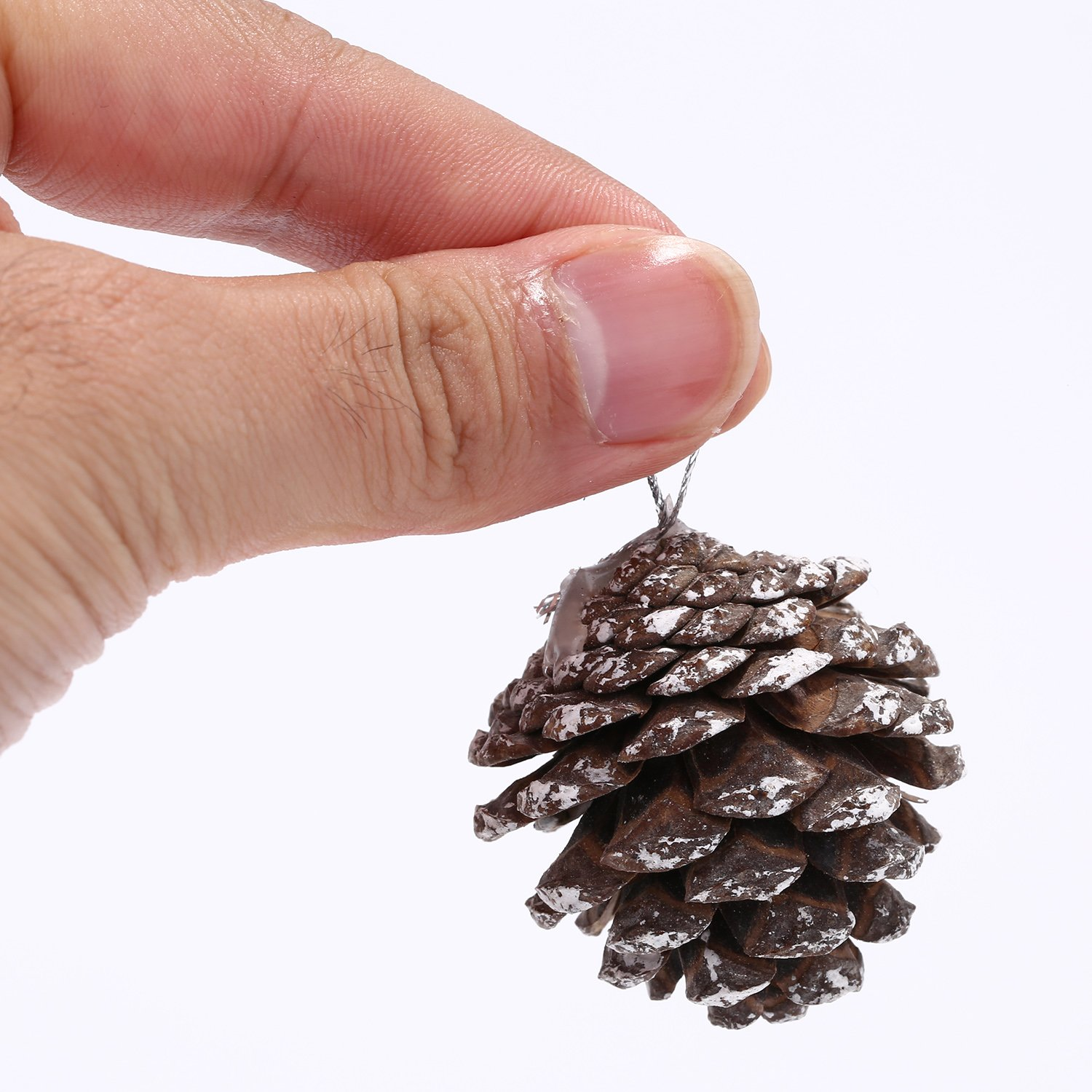 Gold BBTO 18 Pieces 1.57 Inch Christmas Pine Cones Snow Tipped Natural Pine Cone with String for Christmas Tree Decoration