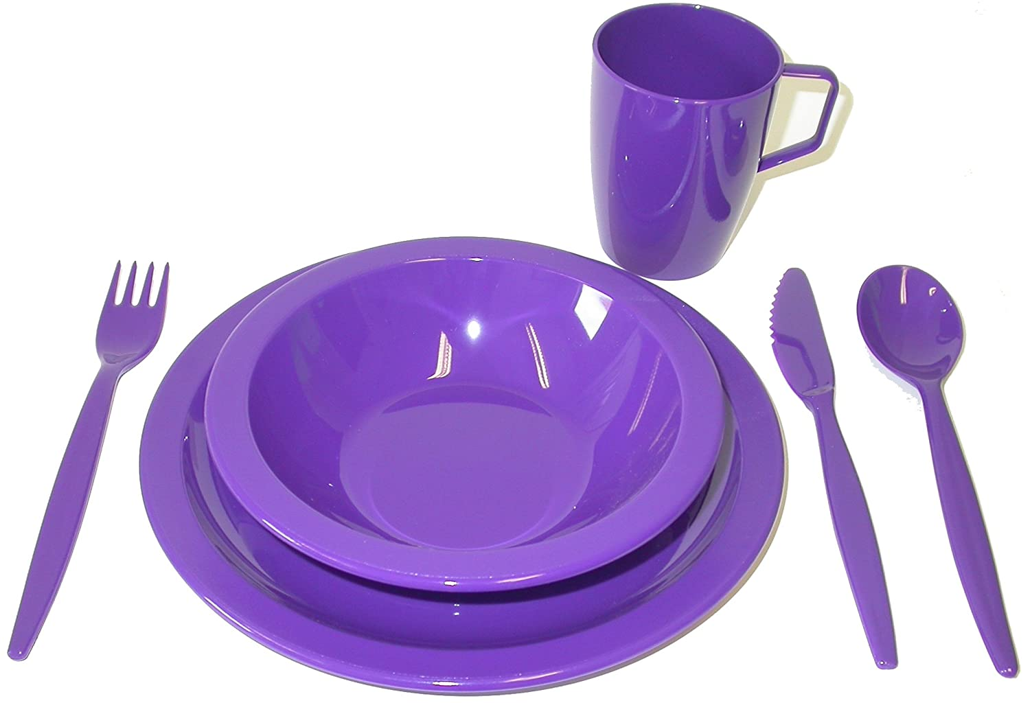 Harfield Polycarbonate Camping Tableware Set - Purple Harfield Components Ltd H8528