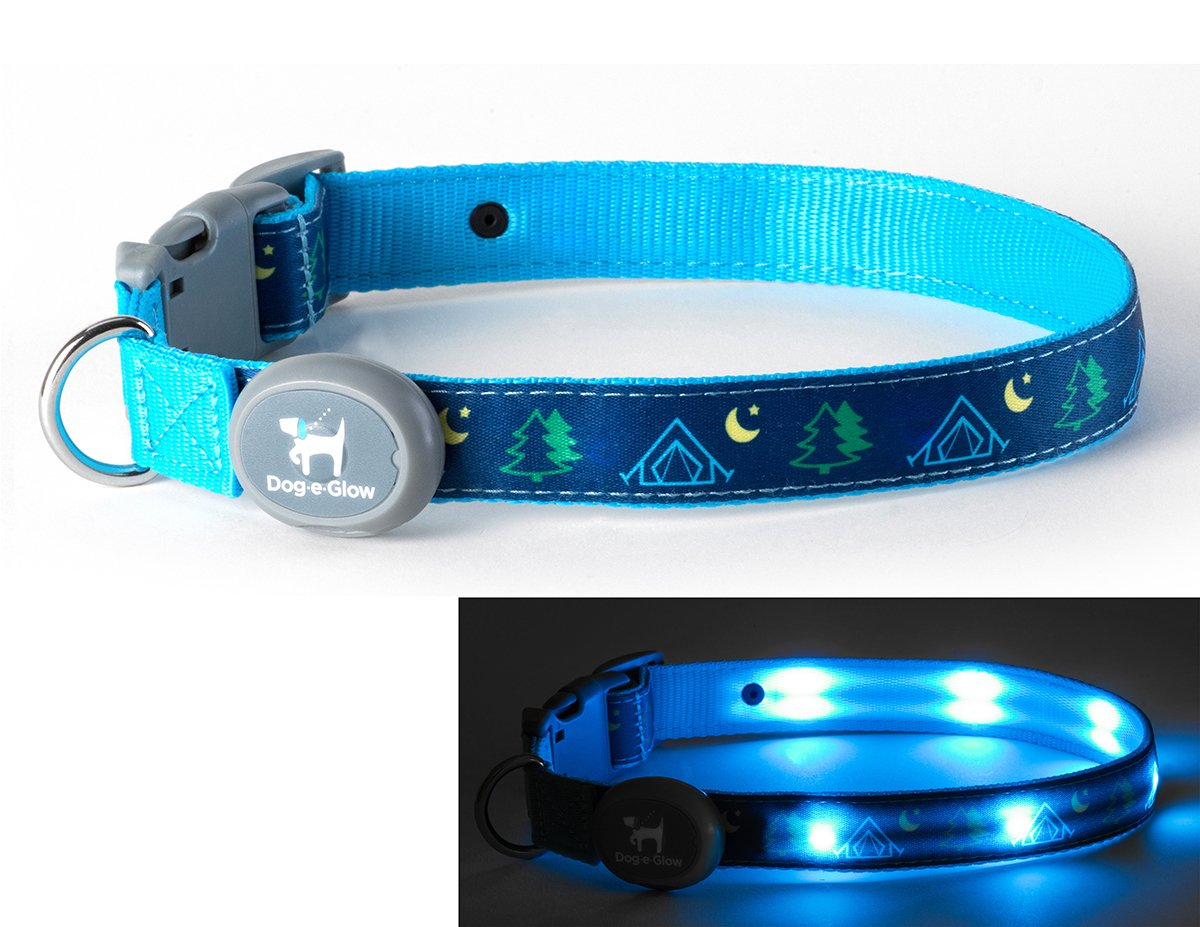 Dog-E-Glow Light Up LED Dog Comfort Collar - Patented Light Up Glowing Collar for Puppies and Dogs of all Kinds for Training and Outdoor Fun - by Large (15-21 inches), Camping