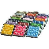 Lsushine Craft Ink Pad Stamps Partner Diy Color,20 Colors Rainbow Finger Ink pad for kids (pack of 20)