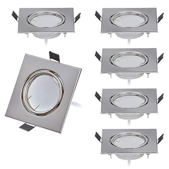 6er Dimmbar LED Einbaustrahler 230V Flach nur 26mm 120°Abstrahlwinkel inkl. 6 x 5W LED Modul Warmweiss 3000K, 430Lumen, Ra >8