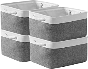 Sacyic Large Storage Baskets for Shelves, Fabric Baskets for Organizing, Collapsible Storage Bins for Closet, Nursery, Clothes, Toys, Home & Office [4-Pack, White&Grey]