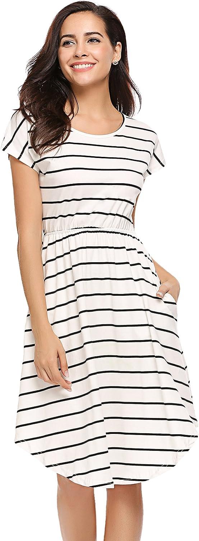 Halife Women's Short Sleeve Stripe Elastic Waist Casual Dress with Pocket