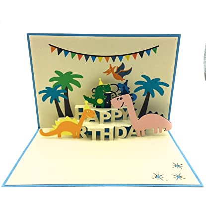 Perfect birthday card for a dinosaur lover  Unique, colorful, and fun card  meant to surprise dinosaur enthusiasts