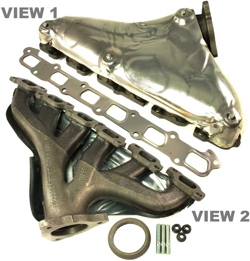 APDTY 785970 Exhaust Manifold w/Gaskets & Heat Shield Fits V6 4.2L On 2008-2009 Chevy Trailblazer or GMC Envoy 2008 Isuzu Ascender 2008-2009 Saab 9-7x (Replaces GM 12597166, 12637060, 8-12597-166-0)
