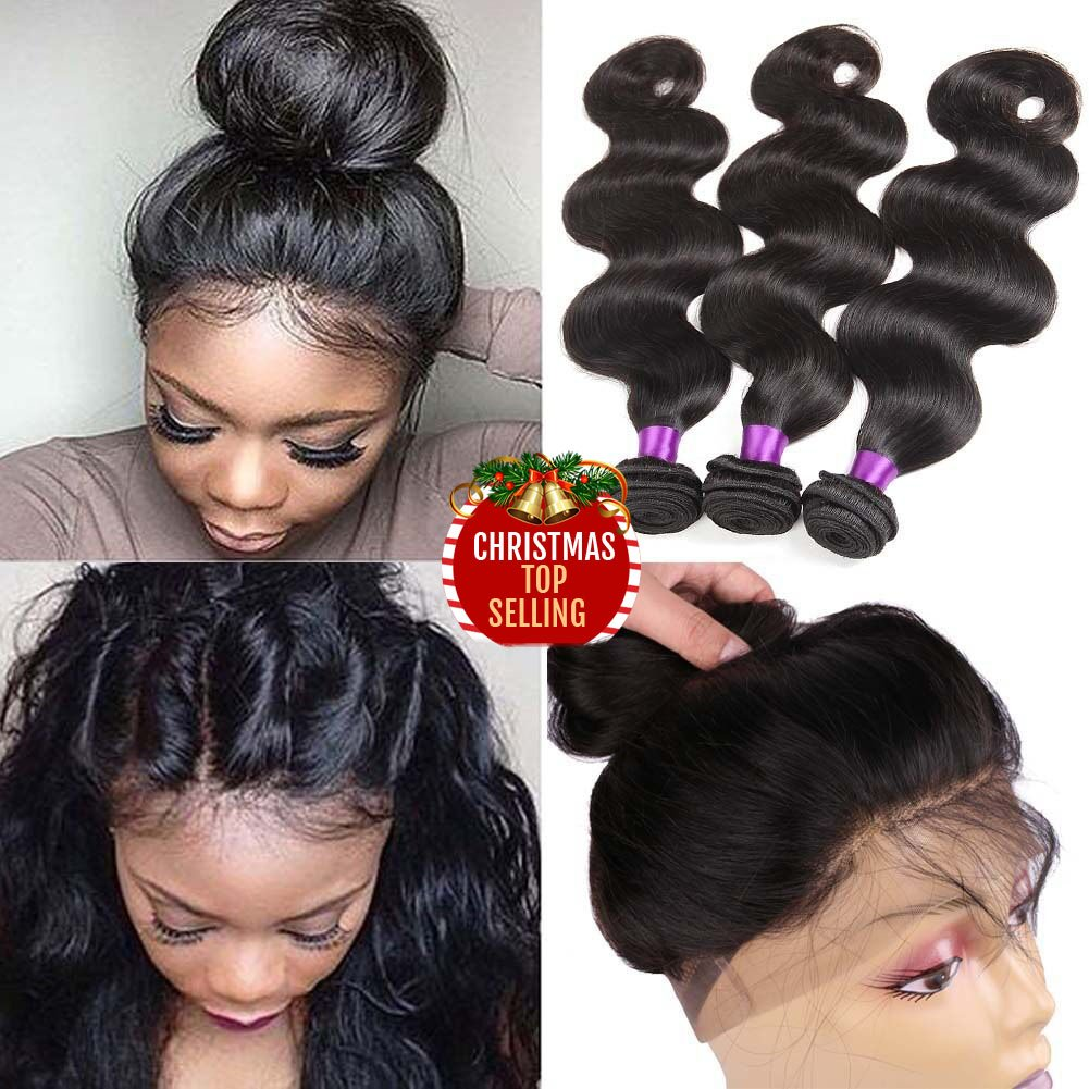 Indian Virgin Hair Body Wave 360 Lace Frontal Closure with Bundles 8A Unprocessed Body Wave Human Hair with 360 Frontal Body Wave 360 Lace Frontal with Bundles (14 16 18+12 360frontal, Natural Color)