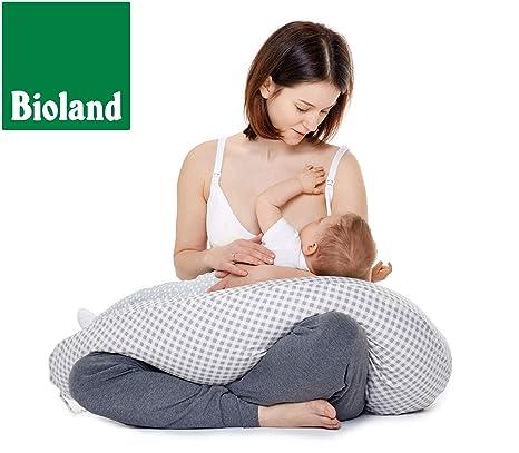 Be mama! - Cojín de lactancia (190 cm de largo, piel de espelta) Producto natural, incluye funda (extraíble). grau Patchwork