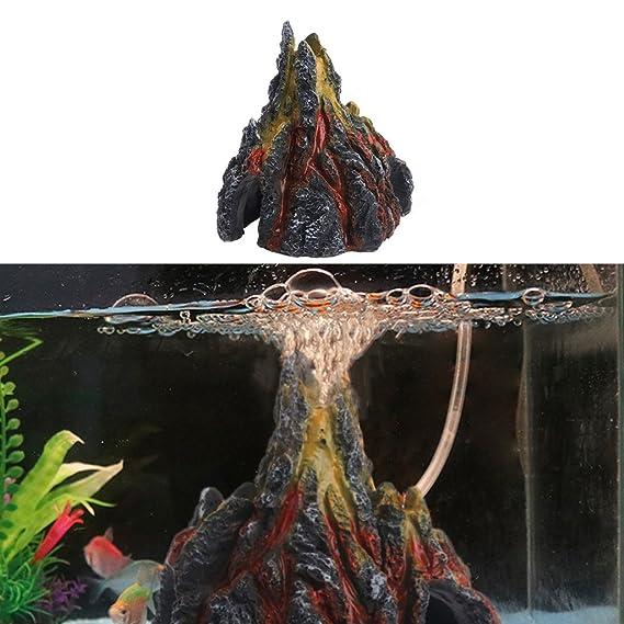 Stebcece Aquarium Volcano Ornament Kit with Air Stone Bubbler Fish Tank  Decorations