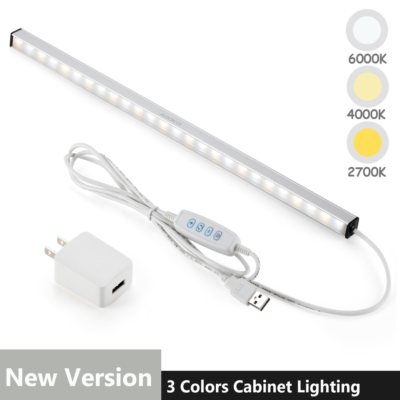 LED Under Cabinet Lighting Bar Built-in Magnets, Dimmable, 3 Color Temperature, 14.5 inches, USB Powered Counter Lighting Bar, LED Closet Light. (with UL Plug)