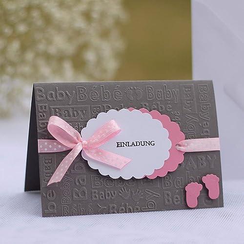 12 Personalisierte Einladungskarten Einladung Zur Taufe Einsegnung Taufeinladung Taufkarten Mädchen Baby Babyshower Babyparty Grau Rosa Handarbeit