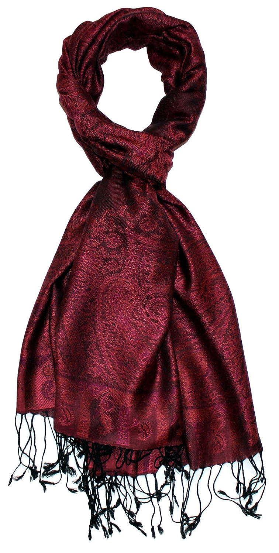 Lorenzo Cana Marken Damen Pashmina Schal Schaltuch Stola Umschlagtuch opulentes Muster in harmonischen Farben mit Fransen 70 cm x 180 cm 100/% Modal 7815888