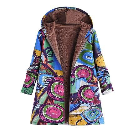 7df4989a09c Amazon.com  Franterd Winter Coat Hooded Women Vintage Cotton Linen Ethnic  Floral Thicken Fluffy Fur Zipper Cardigan  Sports   Outdoors
