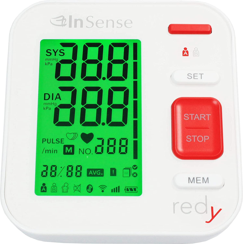 InSense REDy Tensiómetro de brazo Monitoree automáticamente la medición con una pantalla LCD digital Estuche portátil para presión arterial Detector de ...